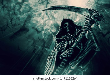 Hooded skeletal standing on the crow fly background. Grim Reaper, The Death. Digital retouch.
