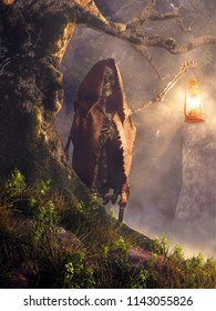A hooded skeleton wearing a brown tattered cloak and carrying a lamp emerges from a dark and creepy forest from behind an old tree. 3D Rendering
