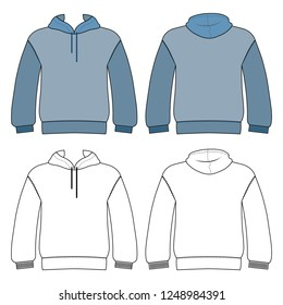 Hoodie man template (front, back views), illustration isolated on white background