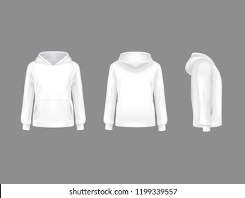 hoodie sweatshirt white 3d realistic mockup template. Fashion long sleeve clothing hooded pullover front side back view. Illustration grey background. Woman man unisex cotton apparel sportswear