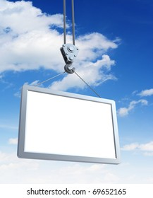 hook holding empty billboard, 3d render