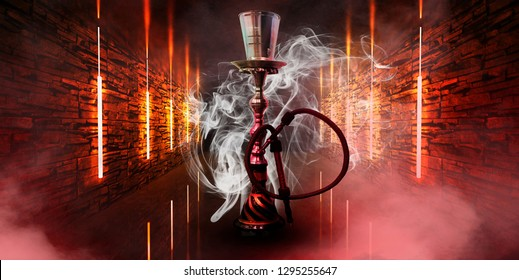 Hookah in a dark tunnel, the illumination of old walls with neon lights, lamps, multicolored smoke, smog. Night view.