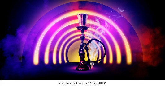 Hookah on the background of neon lamps