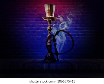 Hookah on a beautiful oriental background, smoke