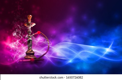 Hookah with smoke on a dark abstract background. Background of party, neon lights, smoke, smog.