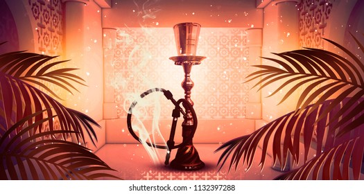 Hookah with smoke on the eastern background of architecture. 3D rendering