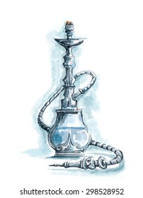 Hookah Watercolor Digital Art, Nargila, Shisha Menu Bar (Digital Art, Raster)