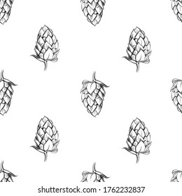 Hop seamless pattern on white background. Hand drawn graphic illustration. Beer, October fest, harvest theme. Gift paper, decor element