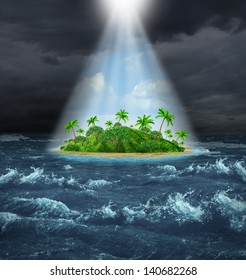 Hope and aspirations success concept as a dark storm ocean background contrasted with a glowing light from above shinning down on a beautiful tropical island as an oasis vision of the promised land.