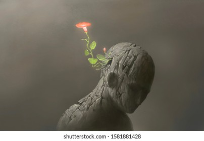 hope, freedom, life, different, contrast concept, imagination red flower on broken human sculpture, surreal and fantasy artwork, nature