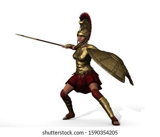 The Hoplite Girl Warrior 3D Illustration
