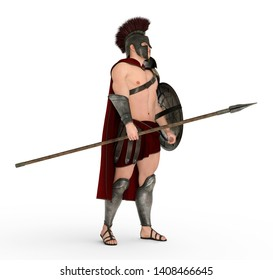 Hoplite soldier against a white background Computer generated 3D illustration