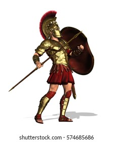 Hoplites were citizen-soldiers of Ancient Greece who were primarily armed with spears and shields - 3d render.