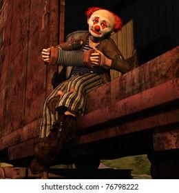 Horatius the Hobo - Vagabond clown riding in a railway car