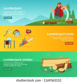 Horisontal banners of sawmill theme. lumberjack tools and timber illustration