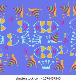 Horizntal stylized  of cartoon  snails, crowns, glasses. Hand drawn.