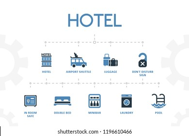 horizontal 2 colored Hotel concept template with simple icons. Hotel elements set, with luggage, minibar, airport shuttle  icons