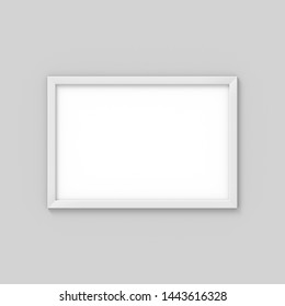 Horizontal A4 white simple picture frame. Mockup for photography. 3D rendering