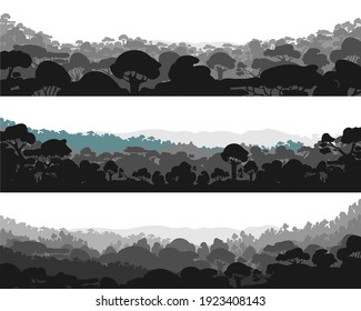 Horizontal abstract banners of hills made of wood in dark black colors.