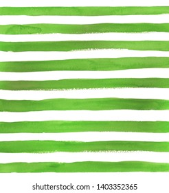horizontal abstract watercolor light green strips on white background. The isolated horizontal line in the paper. It is a hand drawn. watercolor print for clothes. Fashionable designer element 2019