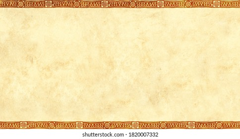 Horizontal  background with ethnicity ornaments and old paper texture. Grunge banner with frame and african patters and vintage paper texture of yellow color. Mock up template. Copy space for text