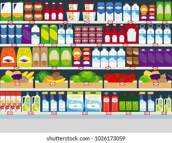 Horizontal background, store shelves with groceries products