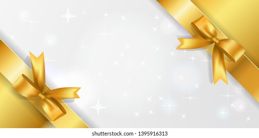 Horizontal background with white sparkling center and Golden corner ribbons with Bows.. Golden stars background with satin bow decoration border. Concept for Coupon, event, festival, party,