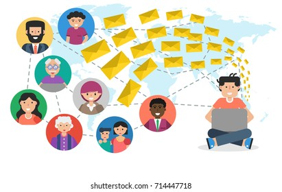 Horizontal banner. Concept of blogging, chatting, communication in social networks and spam mailing. Man with computer sends many email to different users connected by internet in flat style