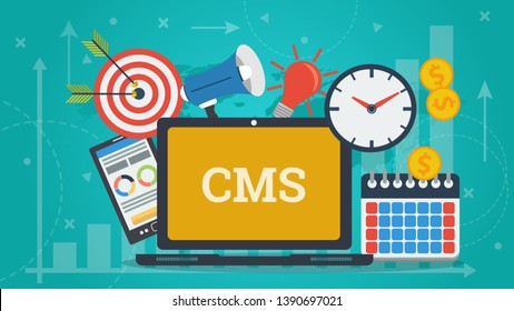 Horizontal banner of content management system - CMS. Laptop, smart phone, clock and money