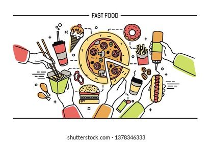 Horizontal banner with fastfood. Composition with different products: hot dog with mustard, pizza, noodles, donut, ice cream, french fries, burger, kola. Colorful lineart illustration.