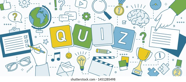 Horizontal banner with hands of people solving puzzles, playing intellectual game and answering smart quiz questions. Test of intelligence or intellect. Colorful illustration in line art style