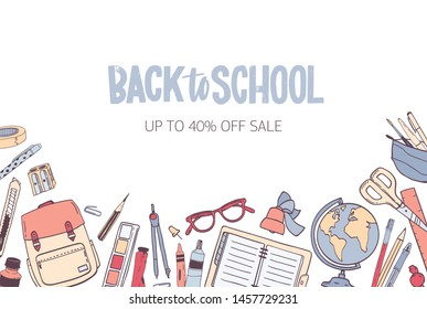 Horizontal banner template for Back To School seasonal sale with stylish lettering handwritten with cursive font and decorated by stationery at bottom edge. illustration for advertisement