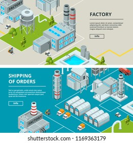 Horizontal banners with industrial buildings. Isometric factory. Factory isometric industry building, industrial, manufacture and storage illustration