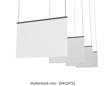 horizontal banners or posters hanging on strings