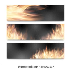Horizontal banners set with realistic transparent fire flames on plaid background for website header or flyer template
