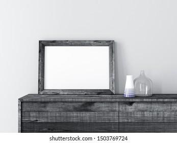 Horizontal Black Wooden Frame poster Mockup standing on сabinet, 3d rendering