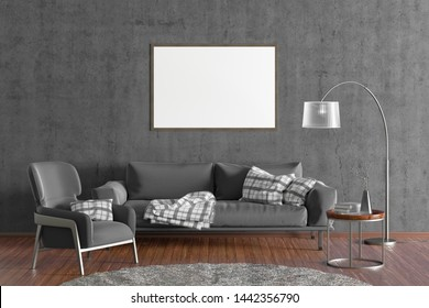Horizontal blank poster on gray concrete wall in interior of modern living room with grey leather sofa and armchair, floor lamp and branches in vase on wooden coffee table. 3d illustration