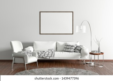 Horizontal blank poster on white wall in interior of modern living room with white leather sofa and armchair, floor lamp and branches in vase on wooden coffee table. 3d illustration