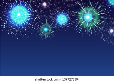 Horizontal blue background with fireworks displaying in dark evening sky. Backdrop decorated with glittering lights. Festival celebration, eye-catching pyrotechnics show. Colorful illustration.