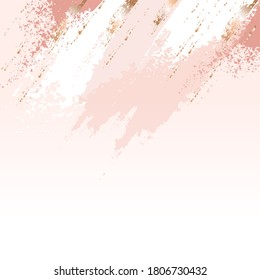 Horizontal border. Pastel pink, rose, white spots and golden brush strokes on a nude background. Abstract background. Design template for banner, card, cover, poster.