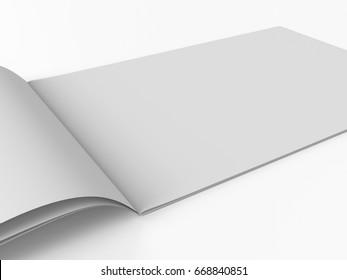 horizontal brochure or book. 3D rendering