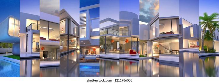 Horizontal collage of luxurious villas renderings 3D rendering