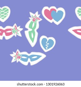 Horizontal composition  with venetians masks,flowers, hearts, dashed line, label. Hand drawn.