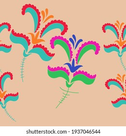 Horizontal  decorative colored floral. Hand drawn.