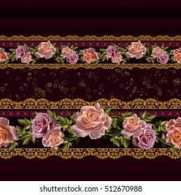 Horizontal floral border. Pattern, seamless. Flower Arrangement, pastel roses, gold braiding, lace, dark brown velvet background with stripes.