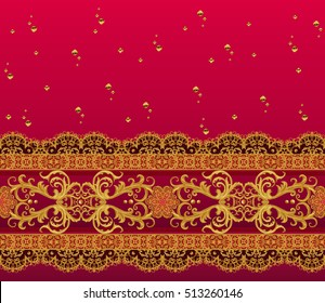 Horizontal floral border. Pattern, seamless. Gold lace. Golden crystals, weaving, arabesques.  Openwork lace weaving. Indian, Asian decoration.