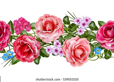 Horizontal floral border. Pattern, seamless. Flower garland of roses, camellia and delicate beautiful flowers, green leaves. Isolated on white background.
