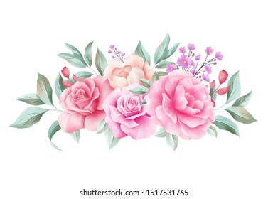 Horizontal floral decoration for wedding invitation card border. Corner watercolor flowers illustration of peach roses, leaves, branches composition isolated white background