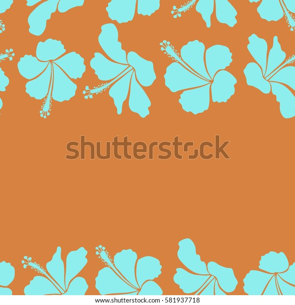 Horizontal floral seamless hibiscus flower pattern. Hand drawn in orange and blue colors for invitation, wedding or greeting cards, textile, prints or fabric. Hibiscus floral pattern with copy space.