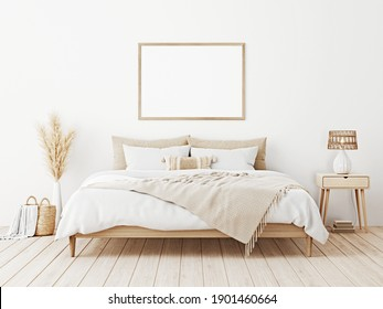 Horizontal frame mockup in boho bedroom interior with wooden bed, beige fringed blanket, cushion with tassels, dried pampas grass, basket and wicker lamp on white wall. 3d rendering, 3d illustration
